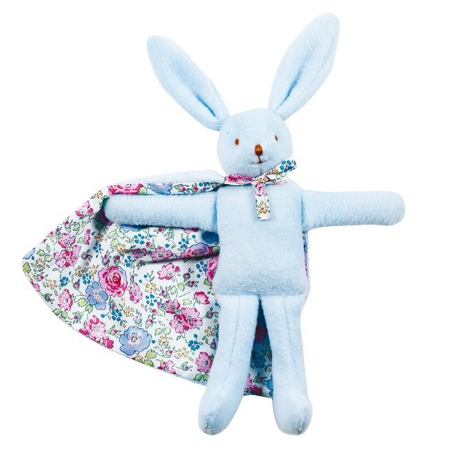 jouets doudous et peluches doudou lapin bleu avec cape liberty rose milk. Black Bedroom Furniture Sets. Home Design Ideas
