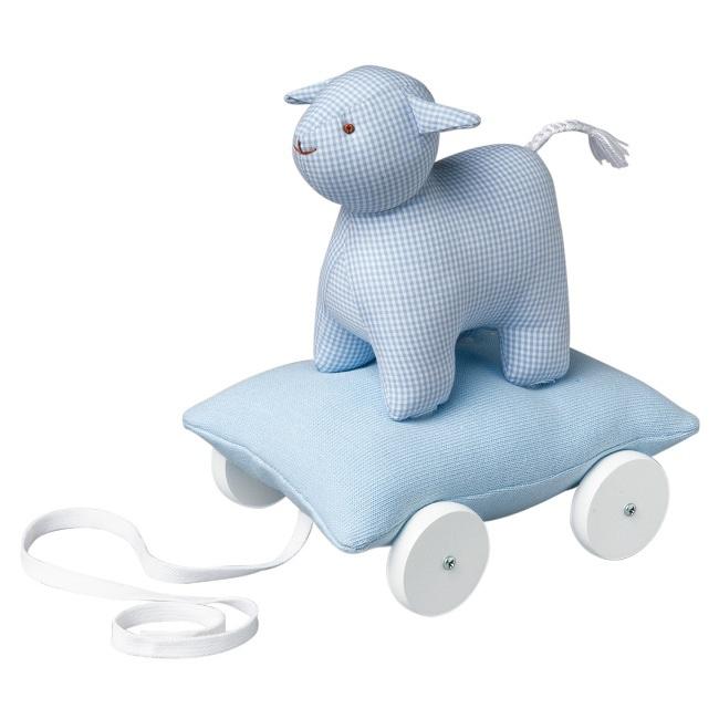 jouets jouets roulettes mouton sur coussin roulettes bleu ciel rose milk. Black Bedroom Furniture Sets. Home Design Ideas