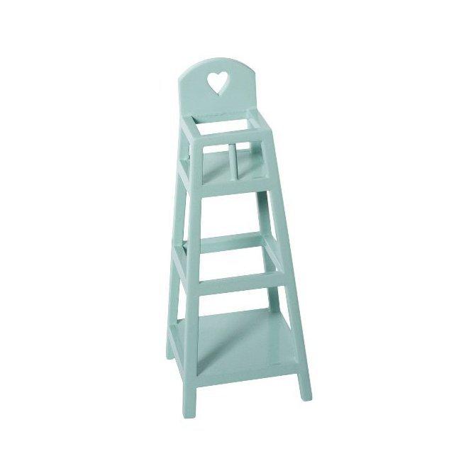 Maileg mini chaise haute en bois bleu - Chaise haute bois bebe ...