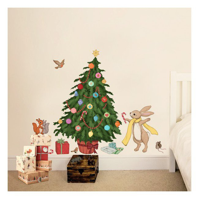 belle and boo sticker mural sapin de noel d corer. Black Bedroom Furniture Sets. Home Design Ideas
