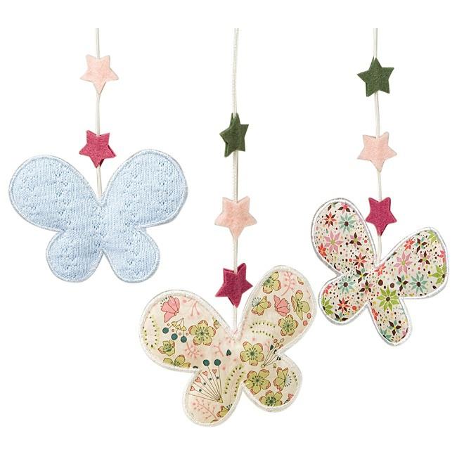 d coration mobiles et guirlandes mobile musical etoiles papillons rose milk. Black Bedroom Furniture Sets. Home Design Ideas