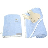 Cape de Bain + Gant de Toilette Peter Rabbit Bleus