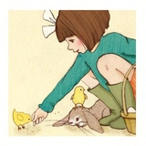 "Tableau ""Belle Feeds The Chicks"" (28x28cm)"
