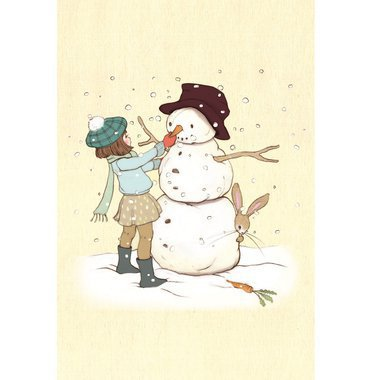 "Tableau ""Belle and Boo Build a Snowman"" (21x26cm)"