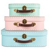 Set de 3 Valisettes Rétros Assortiment Pastel